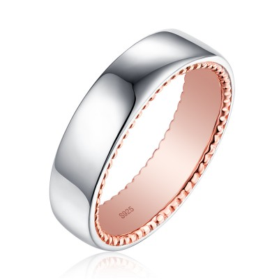 Tinnivi Simple Rose Gold Plated Sterling Silver Wedding Band