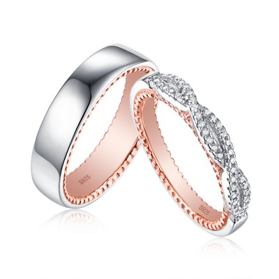 Tinnivi Simple Rose Gold Plated Sterling Silver Couples Ring
