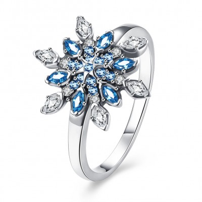 Tinnivi Stylish Snowflake Design Created White Sapphire And Aquamarine Sterling Silver Womens Ring