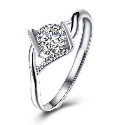 Tinnivi Fashion Round Cut Created White Sapphire Sterling Silver Adjustable Engagement Ring