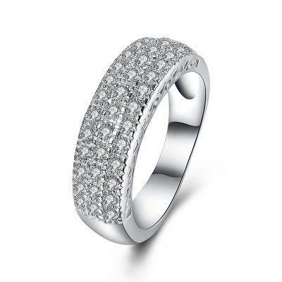 Tinnivi Gorgeous Pave Created White Sapphire Sterling Silver Wedding Band