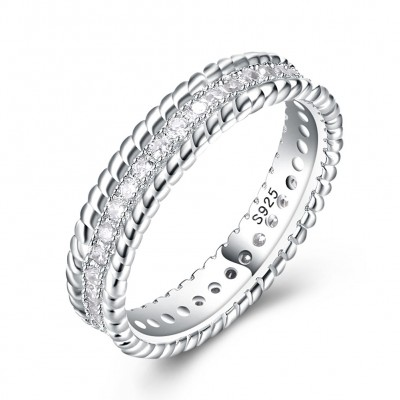 Tinnivi Simple Sterling Silver Pave Created White Sapphire Wedding Band
