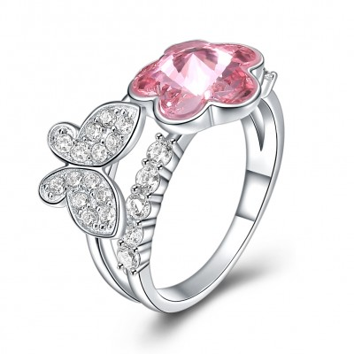 Tinnivi Elegant Flower Butterfly Pink Austrian Crystal Stylish Sterling Silver Womens Ring