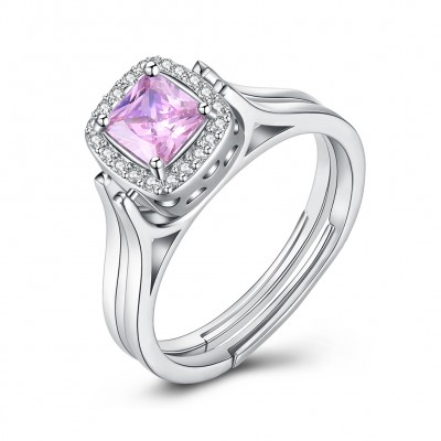 Tinnivi Halo Princess Cut Double Sided Created Pink Sapphire And Created White Sapphire Sterling Silver Engagement Ring