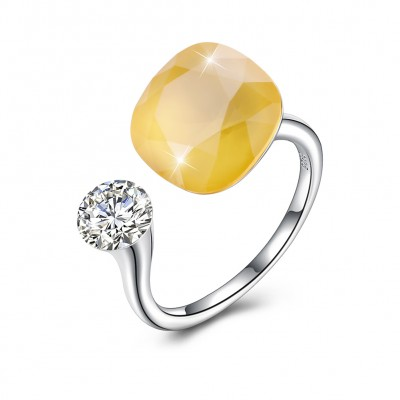 Tinnivi Sterling Silver Cushion Cut Created Yellow Topaz Open Ring