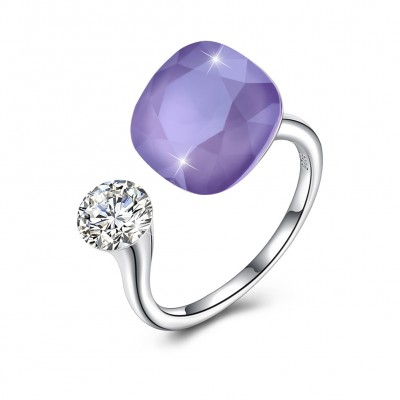 Tinnivi Sterling Silver Cushion Cut Created Amethyst Open Ring