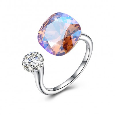 Tinnivi Sterling Silver Cushion Cut Austrian Crystal Open Ring