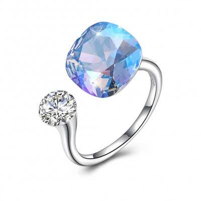 Tinnivi Sterling Silver Cushion Cut Blue Austrian Crystal Open Ring