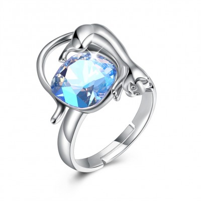 Tinnivi Cat Design Blue Austrian Crystal Sterling Silver Adjustable Womens Ring