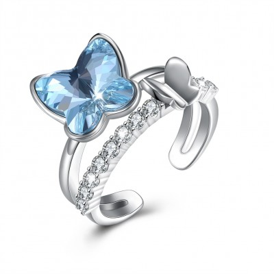 Tinnivi Butterfly Blue Austrian Crystal Sterling Silver Womens OPen Ring
