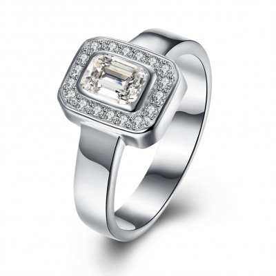 Tinnivi Halo Emerald Cut Created White Sapphire Sterling Silver Engagement Ring