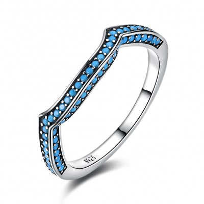 Tinnivi Turquoise Stylish Design Sterling Silver Stackable Band