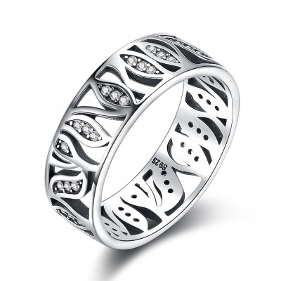 Tinnivi Vintage Hollow Out Leaf Design Sterling Silver Band