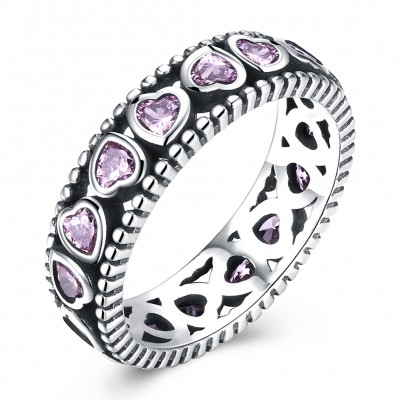 Tinnivi Heart Cut Created Pink Sapphire Sterling Silver Band