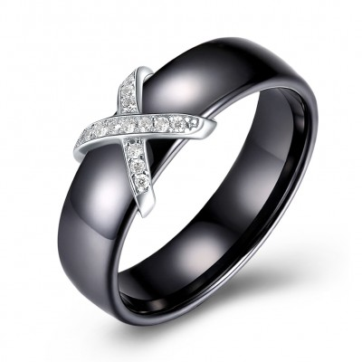 Tinnivi Fashion Sterling Silver Black Womens Band
