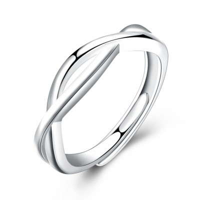 Tinnivi Simple Twist Sterling Silver Open Band