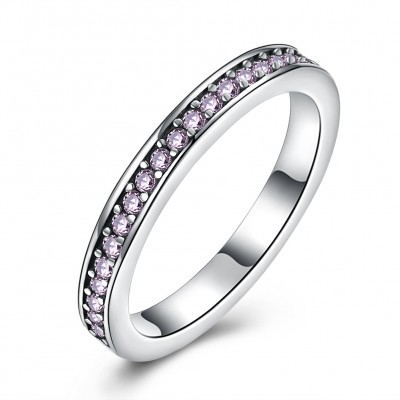 Tinnivi Sterling Silver Pave Created Pink Sapphire Womens Band