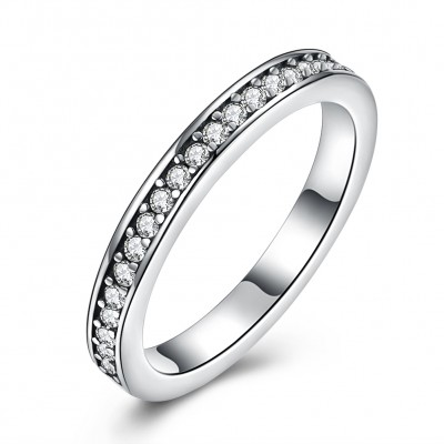 Tinnivi Sterling Silver Pave Created White Sapphire Womens Band