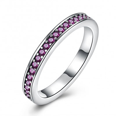 Tinnivi Sterling Silver Pave Created Ruby Womens Band