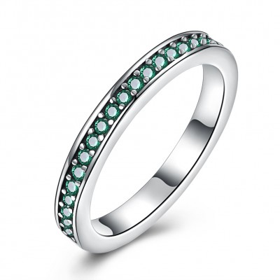 Tinnivi Sterling Silver Pave Created Emerald Womens Band