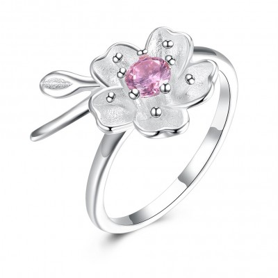 Tinnivi Elegant Flower Design Sterling Silver Open Ring