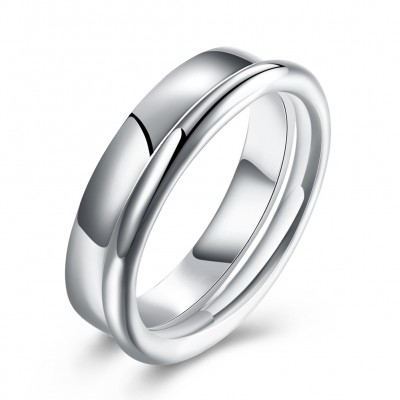 Tinnivi Simple Polished Sterling Silver Wedding Band Set