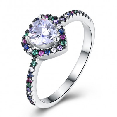 Tinnivi Colorful Created Gemstone Halo Heart Cut Created White Sapphire Sterling Silver Ring