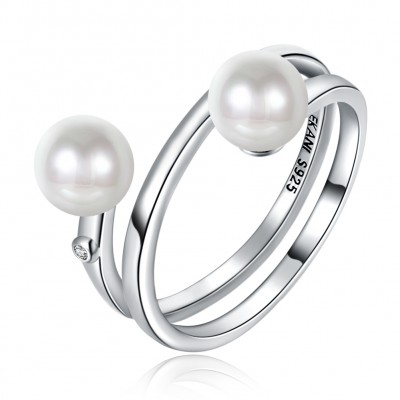 Tinnivi Fashion Double Pearls Sterling Silver Band