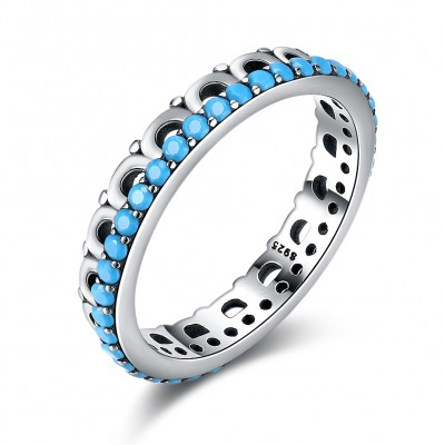 Tinnivi Simple Turquoise Sterling Silver Band