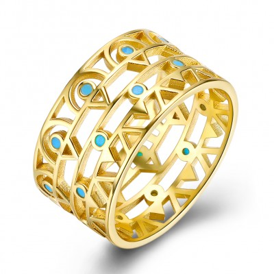 Tinnivi Gold Plated Sterling Silver Turquoise Band