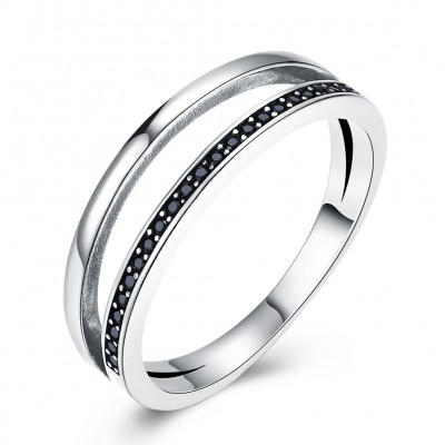 Tinnivi Vintage Created Black Diamond Sterling Silver Band