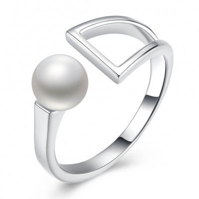 Tinnivi Sterling Silver Fashion Pearl Open Ring
