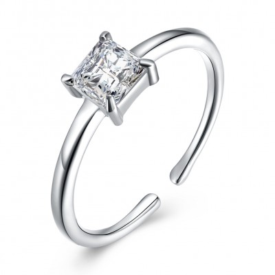 Tinnivi Sterling Silver Princess Cut Created White Sapphire Open Engagement Ring