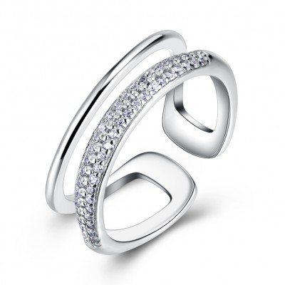 Tinnivi Fashion Created White Sapphire Sterling Silver Open Band