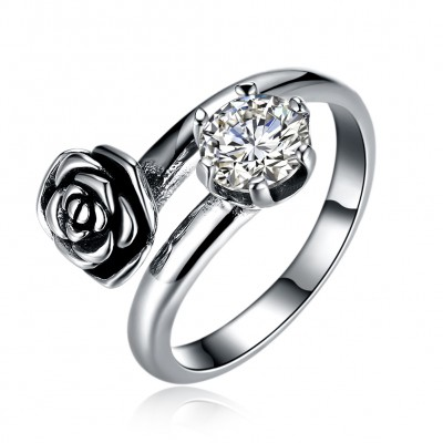 Tinnivi Vintage Rose Created White Sapphire Sterling Silver Open Ring