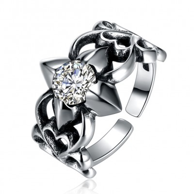 Tinnivi Vintage Flower Design Sterling Silver Open Band