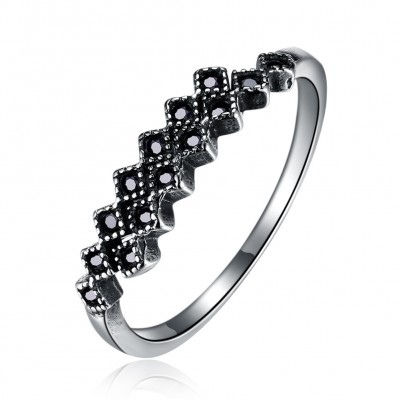 Tinnivi Stylish Created Black Diamond Sterling Silver Open Band