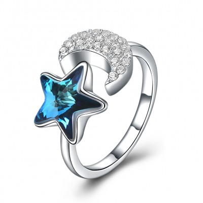 Tinnivi Star And Moon Austrian Crystal Sterling Silver Pearl Open Ring