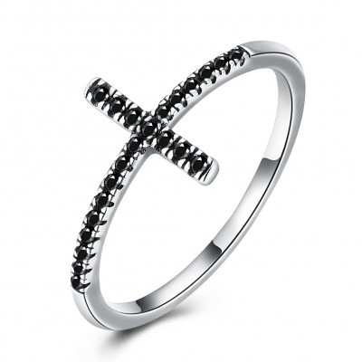 Tinnivi Created Black Diamond Cross Sterling Silver Ring