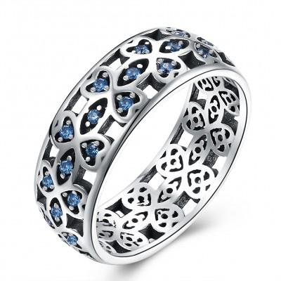 Tinnivi Fashion Created Aquamarine Sterling Silver Band