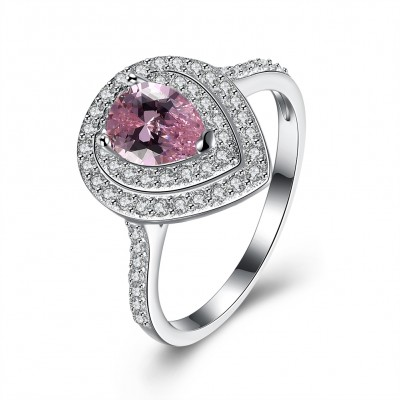 Tinnivi Double Halo Pear Cut Created Pink Sapphire Sterling Silver Engagement Ring