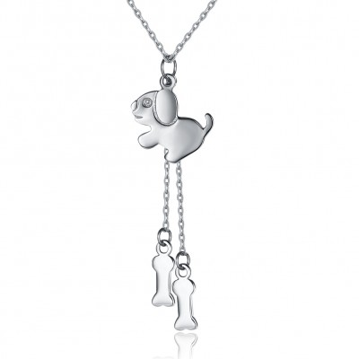 Tinnivi Dog With Bone Sterling Silver Pendant Necklace