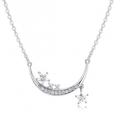 Tinnivi Fashion Star Created White Sapphire Sterling Silver Pendant Necklace