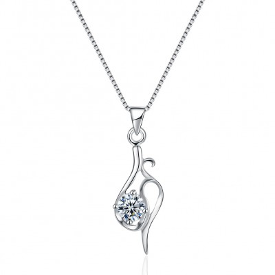 Tinnivi Vine Design Created White Sapphire Sterling Silver Pendant Necklace