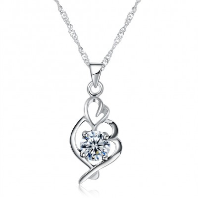 Tinnivi Heart Hollow Out Sterling Silver Pendant Necklace