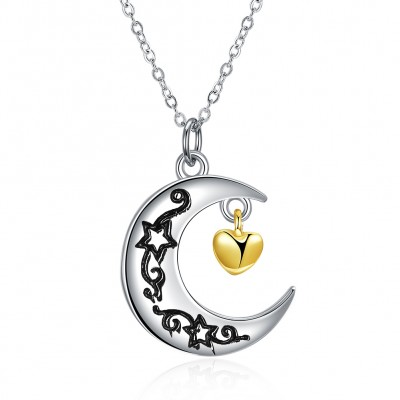Tinnivi Moon And Back Sterling Silver Pendant Necklace
