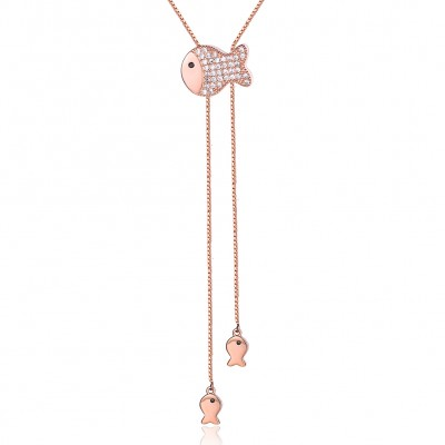 Tinnivi Rose Gold Plated Sterling Silver Fish Pendant Necklace