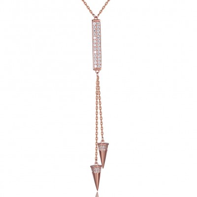 Tinnivi Charmig Rose Gold Plated Sterling Silver Pendant Necklace