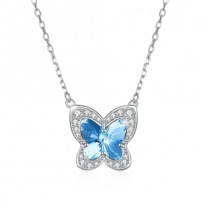 Tinnivi Butterfly Design Blue Austrian Crystal Sterling Silver Pendant Necklace