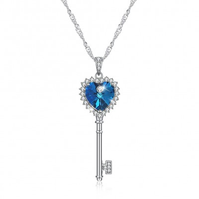 Tinnivi Key Design Blue Austrian Crystal Sterling Silver Pendant Necklace